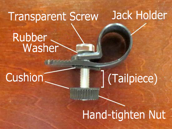 Tailpiece clamp is a tool of fixing connector jack on double bass / upright bass / kontrabass